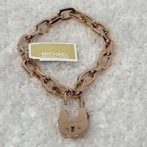 NIB - Michael Kors Rose Gold Padlock Bracelet